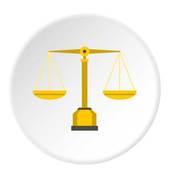 Gold scales of justice icon circle vector