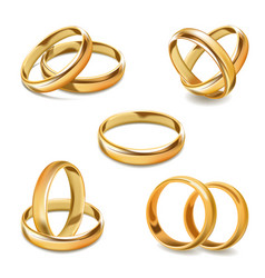 Gold wedding rings pair 3d realistic icons vector