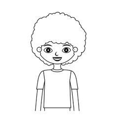 Half body child silhouette with curly hair vector