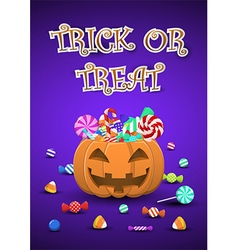 Halloween sweets and candies in pumpkin bucket vector image vector image