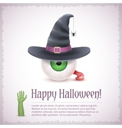 Happy halloween card with a witch eye in hat vector