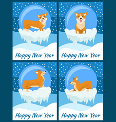 Happy new year congratulations from cute corgi vector