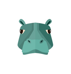 hippo head icon in flat design vector image