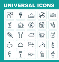 Icons set collection of tea hooch stick vector
