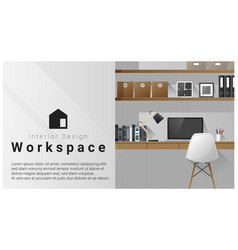 Interior design with modern workplace background vector