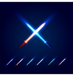 Isolated blue and red color cossed light swords vector