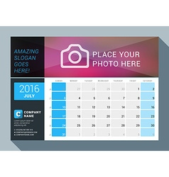 July 2016 design print calendar template for 2016 vector