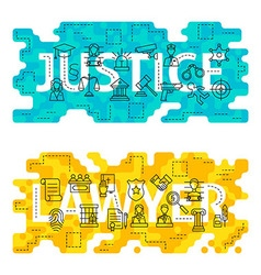 Justice lawyer outline flat concept vector