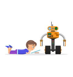 Little boy lies and read beside robot vector