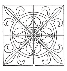 Medieval square panel is decorated with a vector