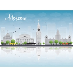 Moscow skyline with grey landmarks vector image