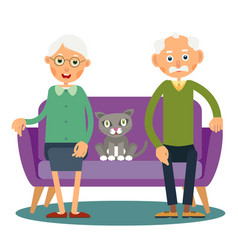 on the sofa sit elderly woman man and cat vector image vector image