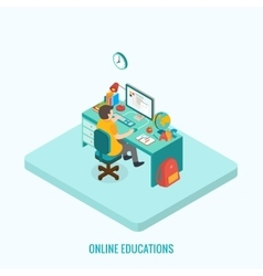 Online education concept Isometric 3d vector image
