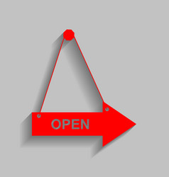 Open sign red icon with soft vector