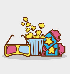Popcorn soda and tickets in the cinema vector