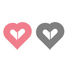 red and black heart vector image vector image