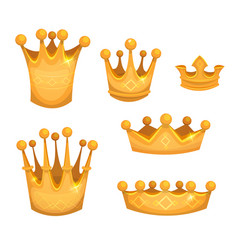 royal golden crowns for kings or game ui vector image