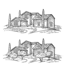 Rural landscape with villa or farm with field vector