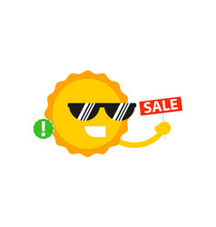 sale sign with smiling sun icon vector image vector image