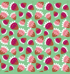 Seamless background of a sweet strawberry vector