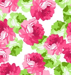 Seamless floral patter with pink roses vector image