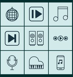 Set of 9 audio icons includes skip song vector
