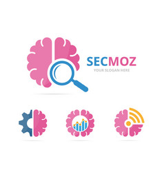 Set of brain logo combination education and vector