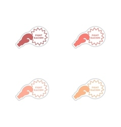 Set of paper stickers on white background racism vector