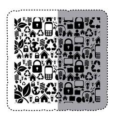 Sticker silhouette pattern with storage tech vector