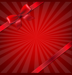 sunburst with red ribbon and bow vector image vector image