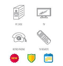 Tv remote retro phone and tv remote icons vector