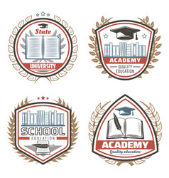 vintage colored education emblems set vector image vector image