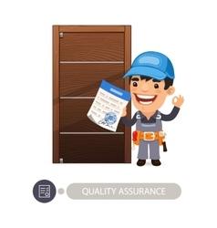 Worker and door quality assurance vector