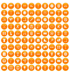100 sport icons set orange vector image