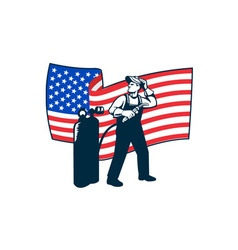 Welder standing visor up usa flag wavy retro vector