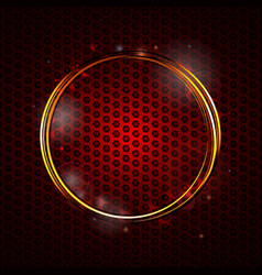 Golden glowing circles on red honeycomb structure vector