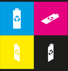 battery recycle sign   white vector image
