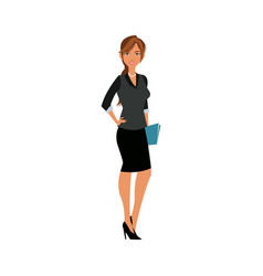 Beautiful woman holding folder fashion clothes vector