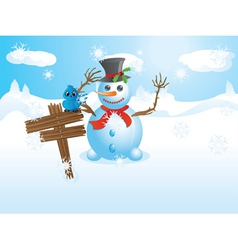 Snowman and signboard vector