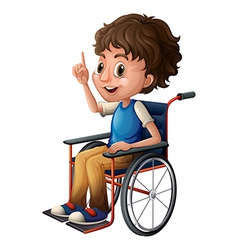 A wheelchair with a boy vector