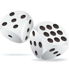 Two white dices in motion vector