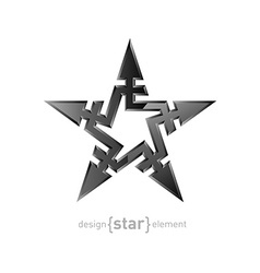 Abstract metal star with arrows design element on vector