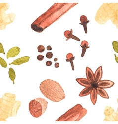 Seamless watercolor pattern with spices on the vector