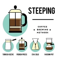Coffee brewing methods steeping different ways vector