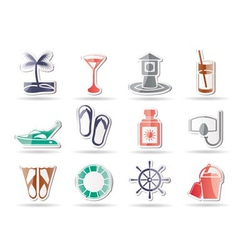 Marine and holiday icons vector