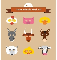 Set of animal masks for costume party vector