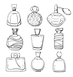 Set of linear hand drawn perfume bottles vector