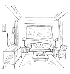 Modern interior room sketch chair and furniture vector