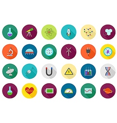 Science round icons set vector