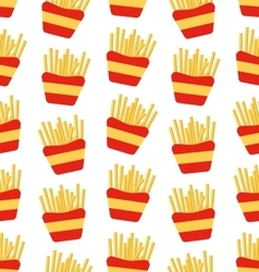 Seamless pattern of french fries boxes of takeaway vector